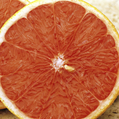 Grapefruit sliced in two