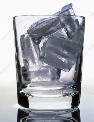 View of a glass of ice cubes