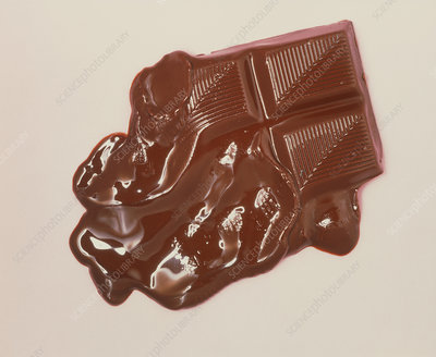 View of a partially melted chocolate bar