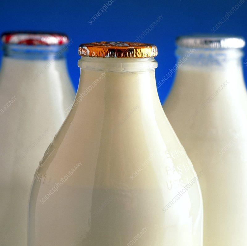 Tops of three types of bottled milk