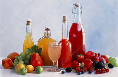 Assortment of fruits and fruit juices