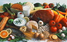Selection of foods from a balanced diet