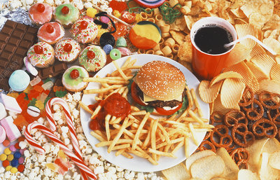 Assortment of unhealthy foods