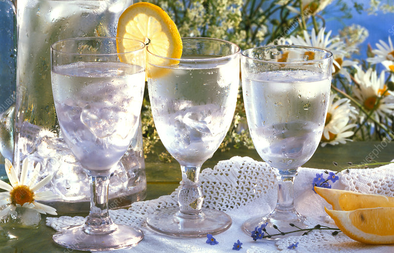 Three glasses of chilled water