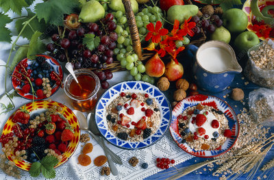 Muesli and a selection of fruits and nuts