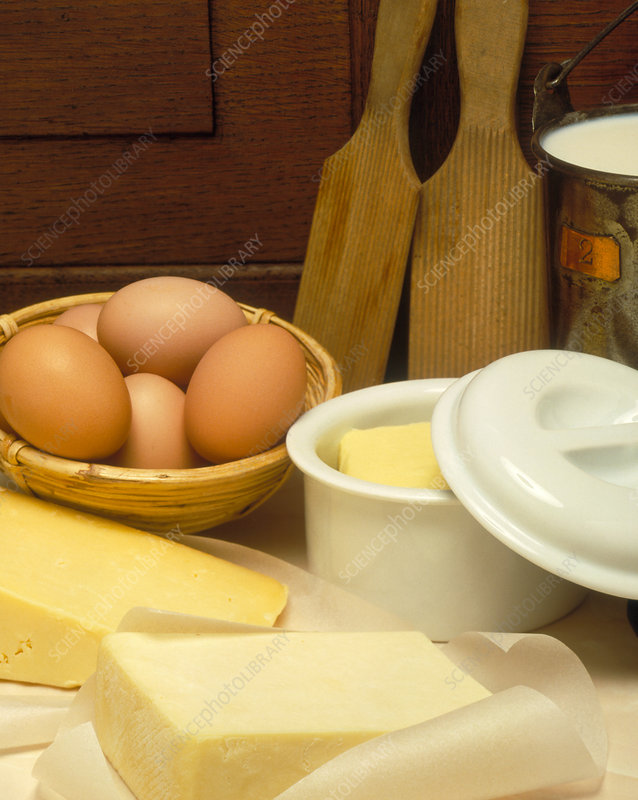 Eggs and a selection of dairy produce