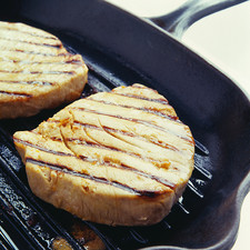 Tuna steaks cooking
