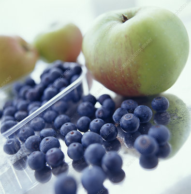 Apples and blueberries