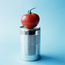 Tomato on steel can
