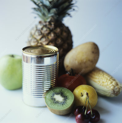 Fruit and vegetables by a steel can