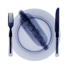 Hot dog on a plate, X-ray