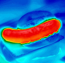 Sausage in a bun, thermogram