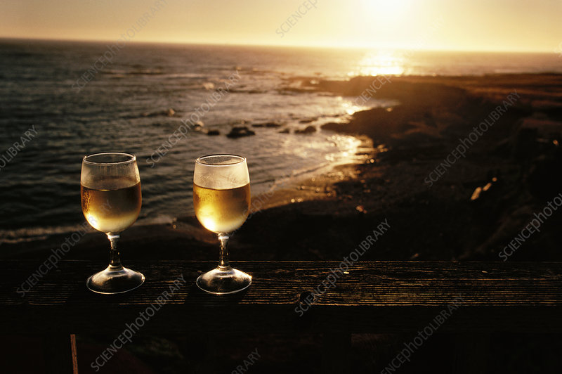 Glasses of white wine beside a beach