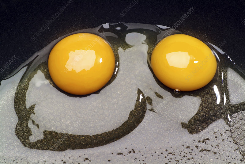 Raw eggs in a frying pan