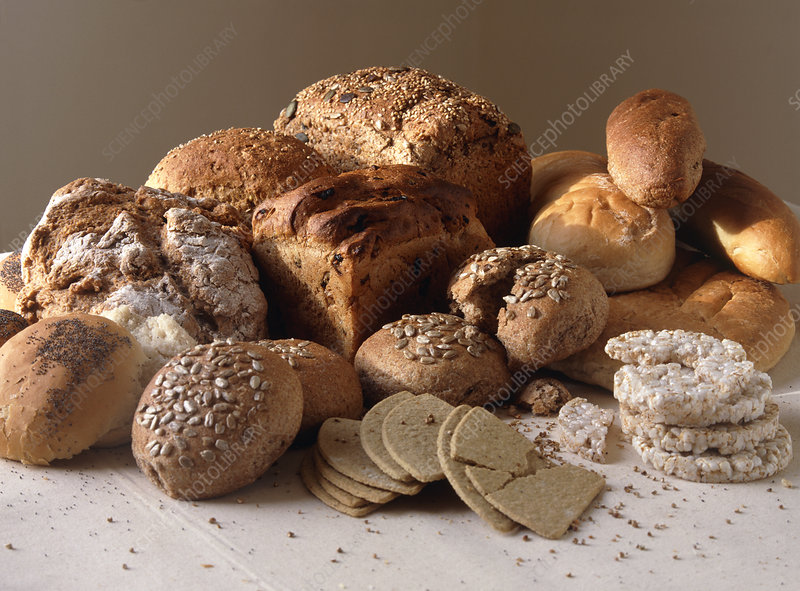 Breads, rice cakes and oatcakes