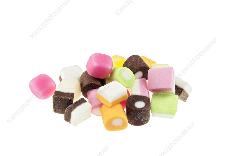 Brightly coloured sweets.