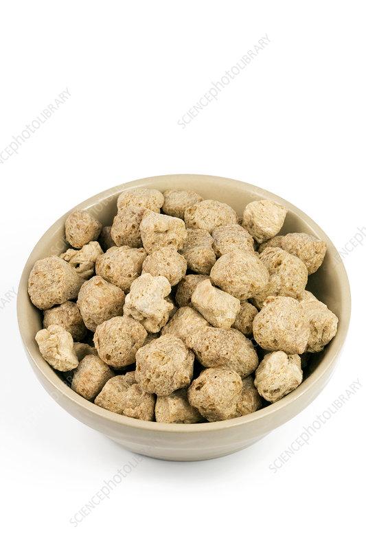Soya protein chunks.