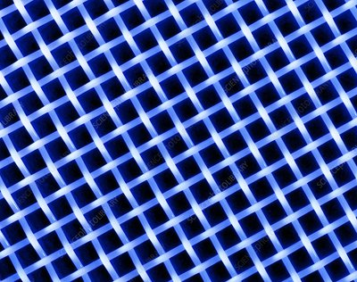 Macrophoto of a lattice of polyester silk fibres
