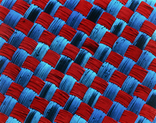 Coloured SEM of storm-proof fabric from raincoat