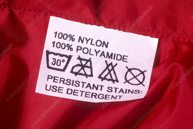Washing instructions on label on nylon clothing
