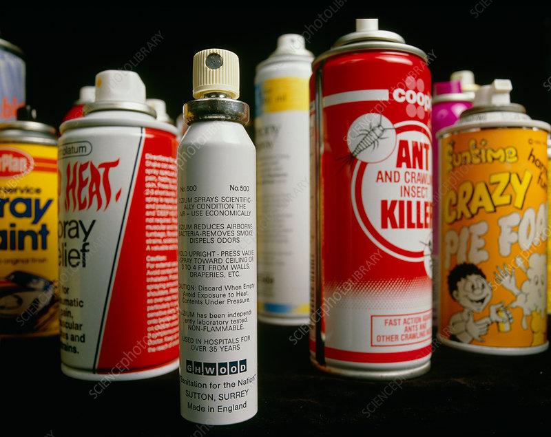 Assortd aerosol spray cans