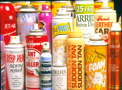 Assorted aerosol spray cans