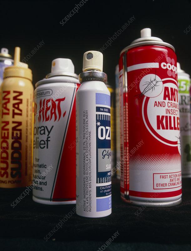 Assorted aerosol spray cans