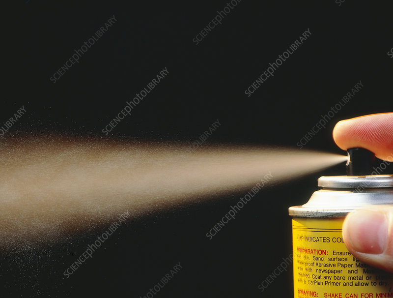 Close-up of aerosol spray in action