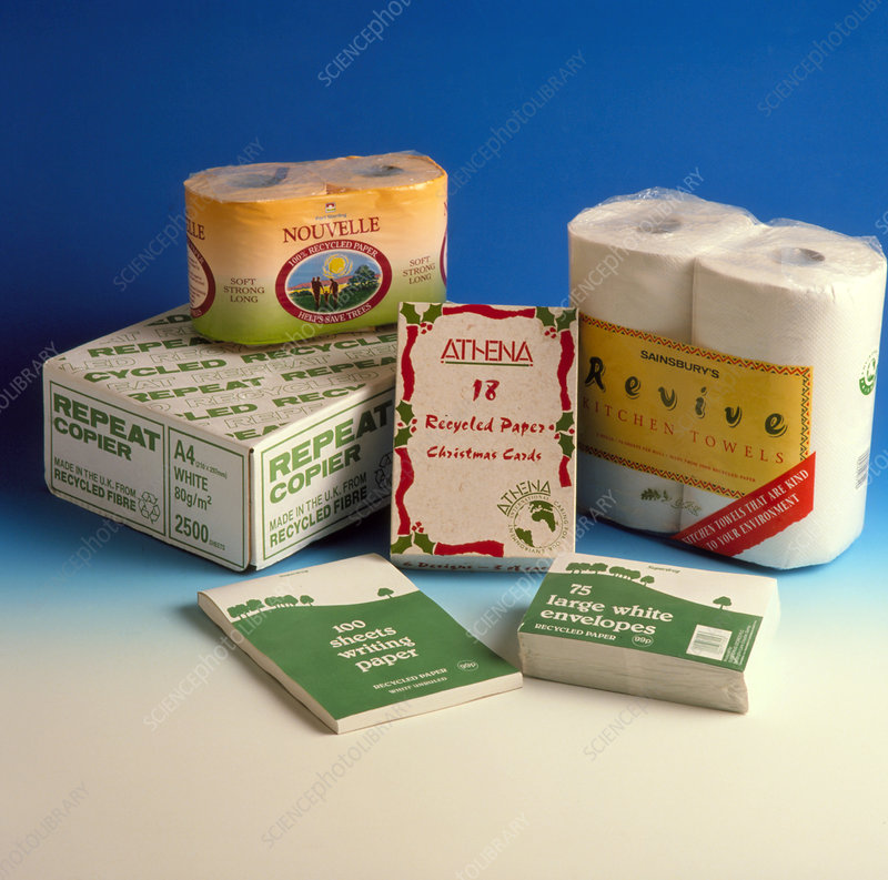 Selection of recycled-paper products