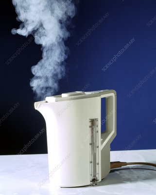 Boiling kettle produces steam