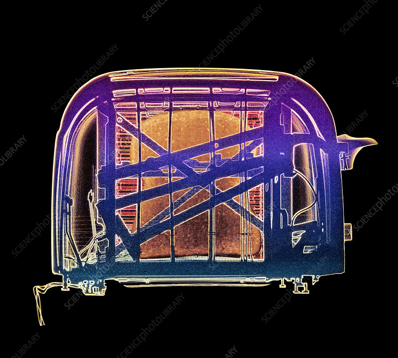 Coloured X-ray of pop-up toaster with toast inside