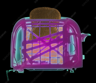 Coloured X-ray of a toaster with toast popping-up
