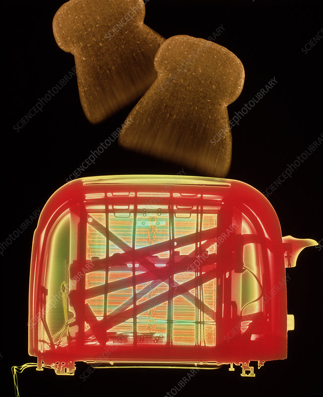 X-ray of toaster with toast