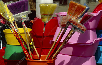 Plastic household harware: buckets, brushes, bowls