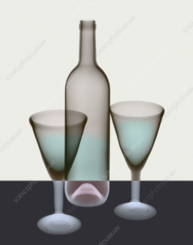 Wine glasses and bottle, X-ray