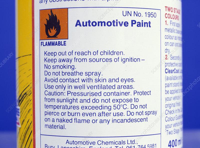 Warning on aerosol can