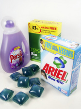 Assorted washing powders and liquids