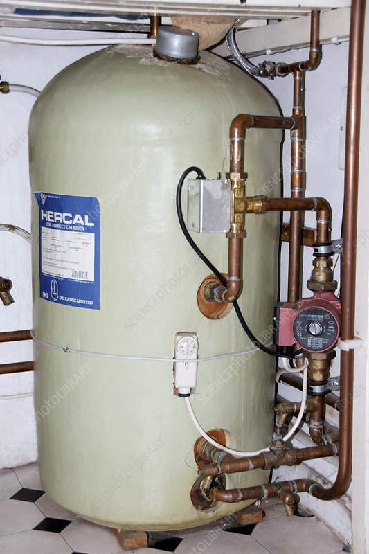 Domestic hot water cylinder - Stock Image H130/0562 - Science Photo ...