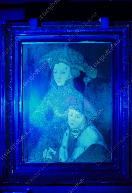 Forged painting seen under ultraviolet light