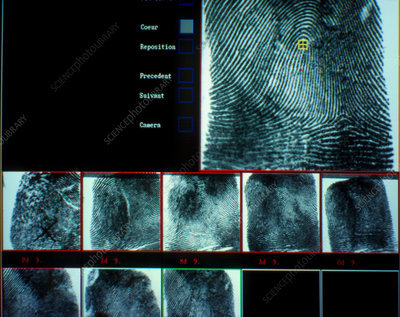 Computerised fingerprint record for French police