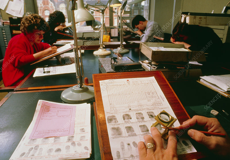 Fingerprints being coded, Scotland Yard, London