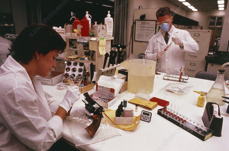 Blood sample being taken at FBI serology lab