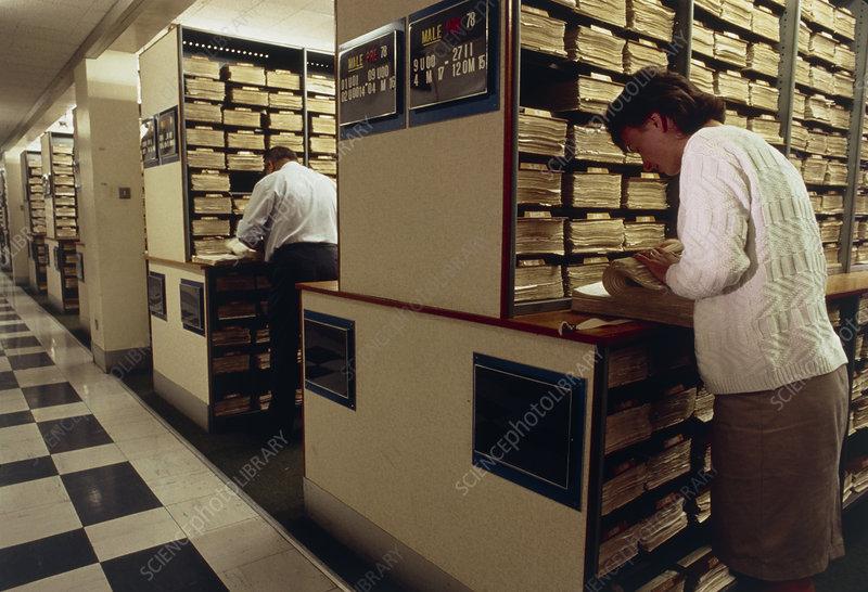 Searching through fingerprint file, Scotland Yard