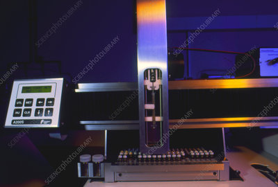 Sample injection robot on forensic testing machine