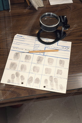 Fingerprint card with magnifying glass