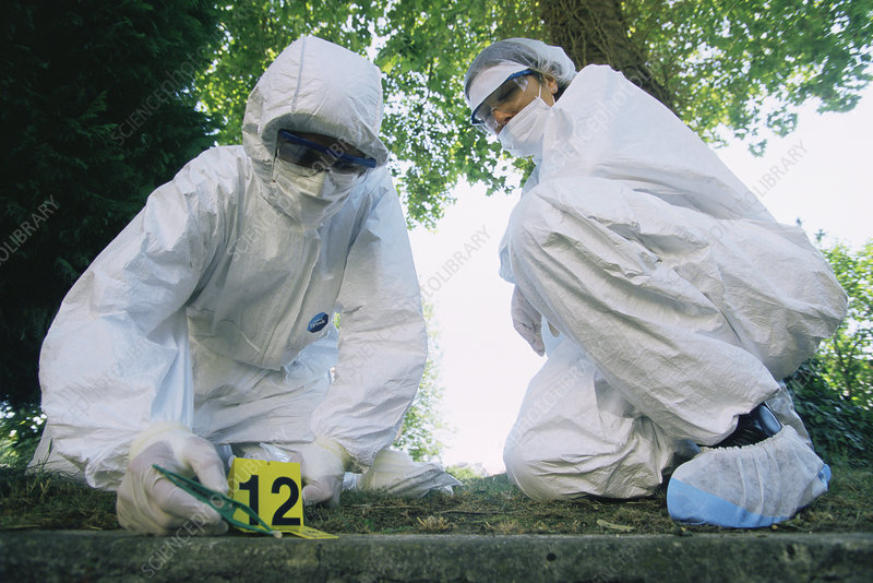 Forensics officers at a crime scene