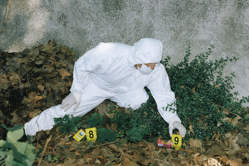 Forensics officer at a crime scene