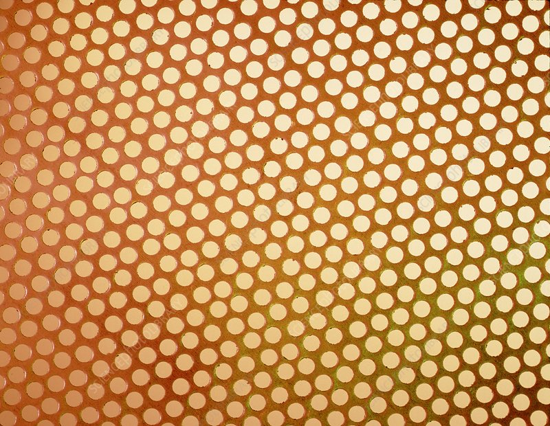 Close-up of a sheet of perforated zinc