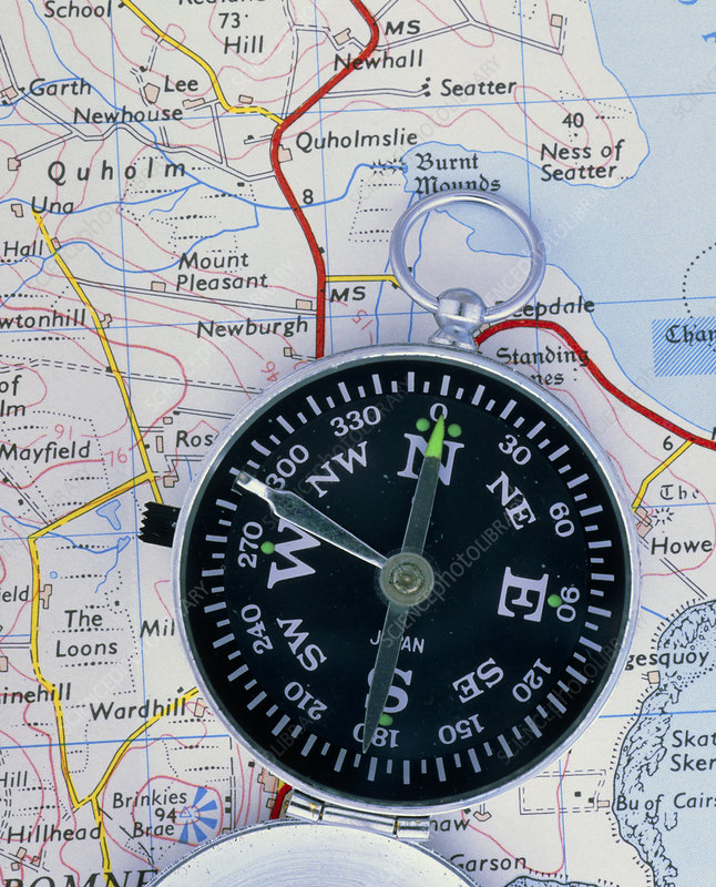Compass on an Ordnance Survey map