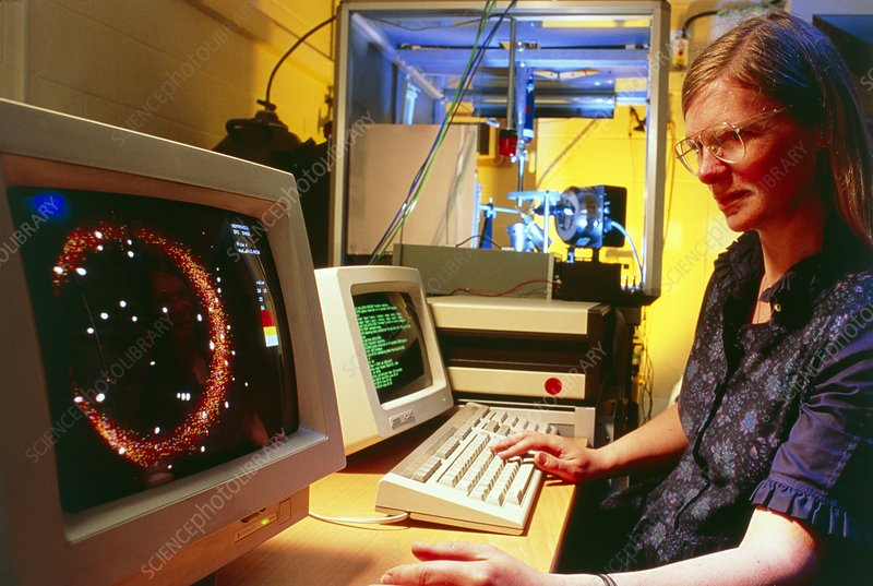 Researcher using an X-ray diffractometer